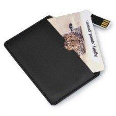 Черный кожаный кармашек для карточки