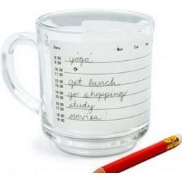 Пишите расписание на чашке